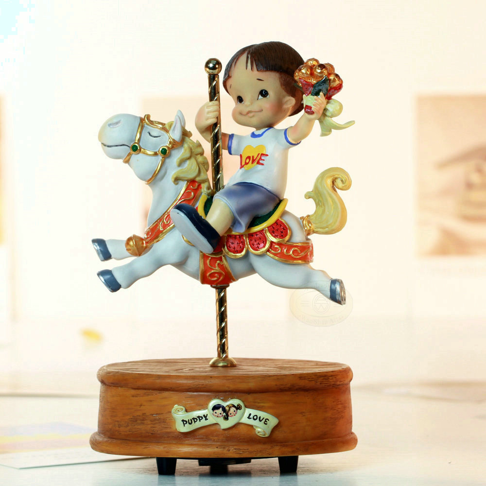 Puppy Love Chocolate Rotating Music Box Carousel Music Box
