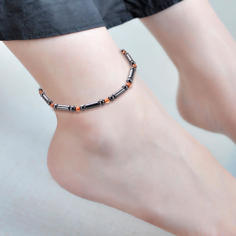 Black Stone Magnet Anklet Weight Loss Slimming Magnetic Therapy Bracelet Anklet For Men Women Health Care Jewelry