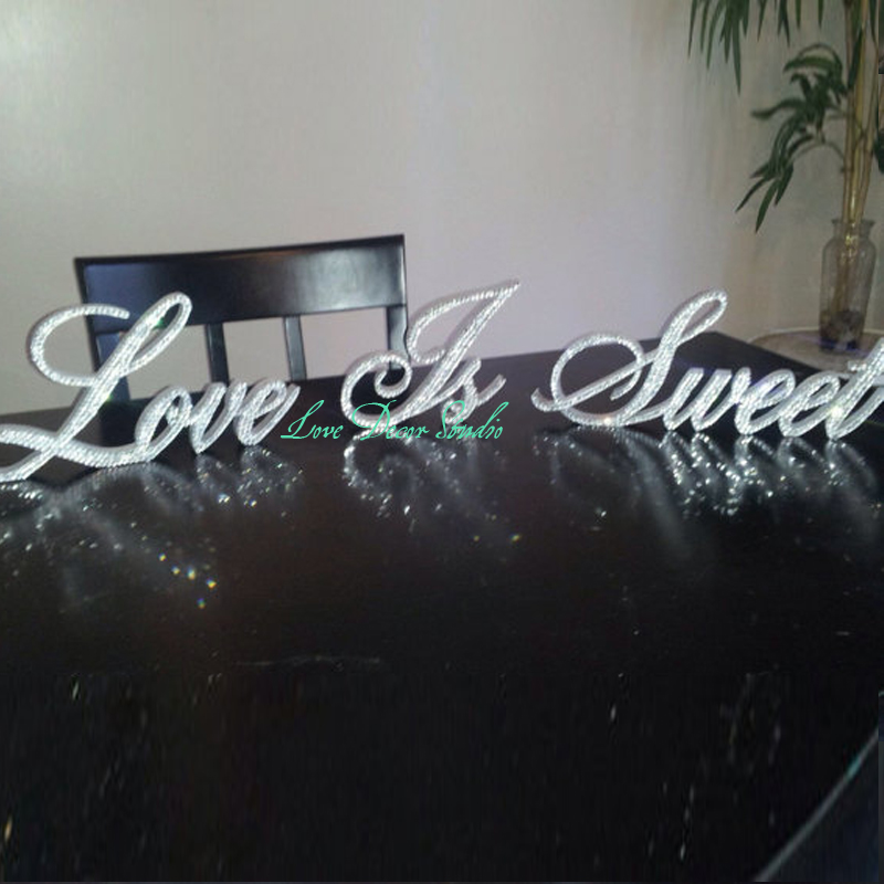 Crystal Love Is Sweet  standing sign wooden letterCrystal Love Is Sweet  standing sign wooden letter