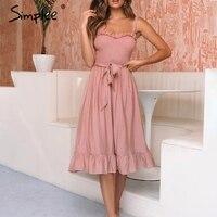 Simplee без рукавов рюшами элегантное платье для женщин Ruched пояса лук длинное хлопковые летние платья пикантные повседневные женские розовые ...