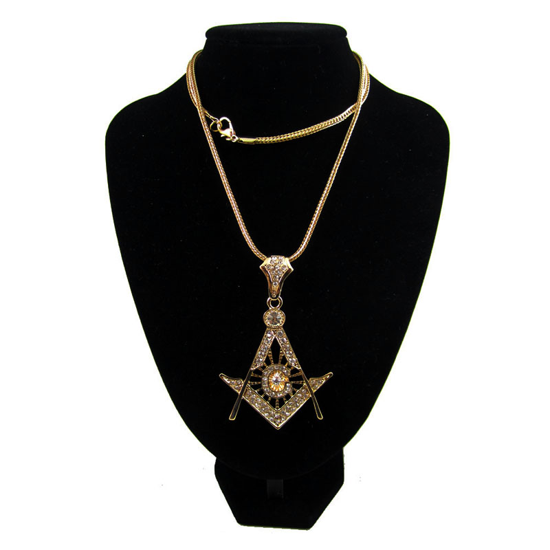 FREE SHIPPING ZINC ALLOY ICED OUT Mason NEW Benefit Society Pot Necklace Freemasons Pendant WITH FRANCO
