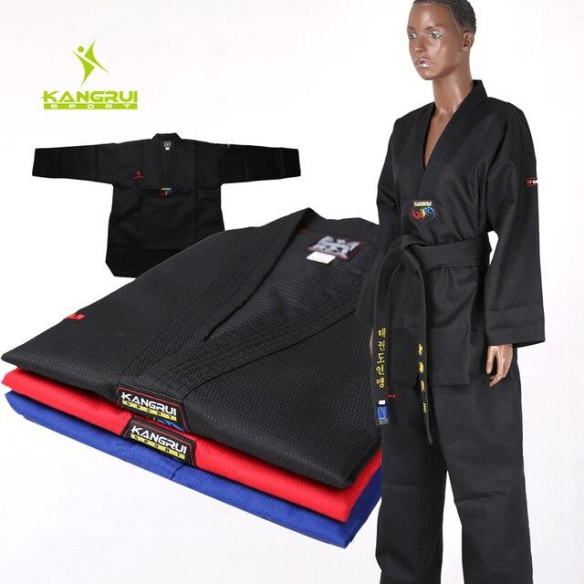 Высокое качество черный таэквондо равномерной обучение тхэквондо костюмы вышивка униформа размер 160-190 см