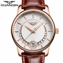 GUANQIN Women's Fashion Casual Quartz Watch Women Gold Case White Dial Series Leather Ladies Luxury Jewelry Watches montre femme