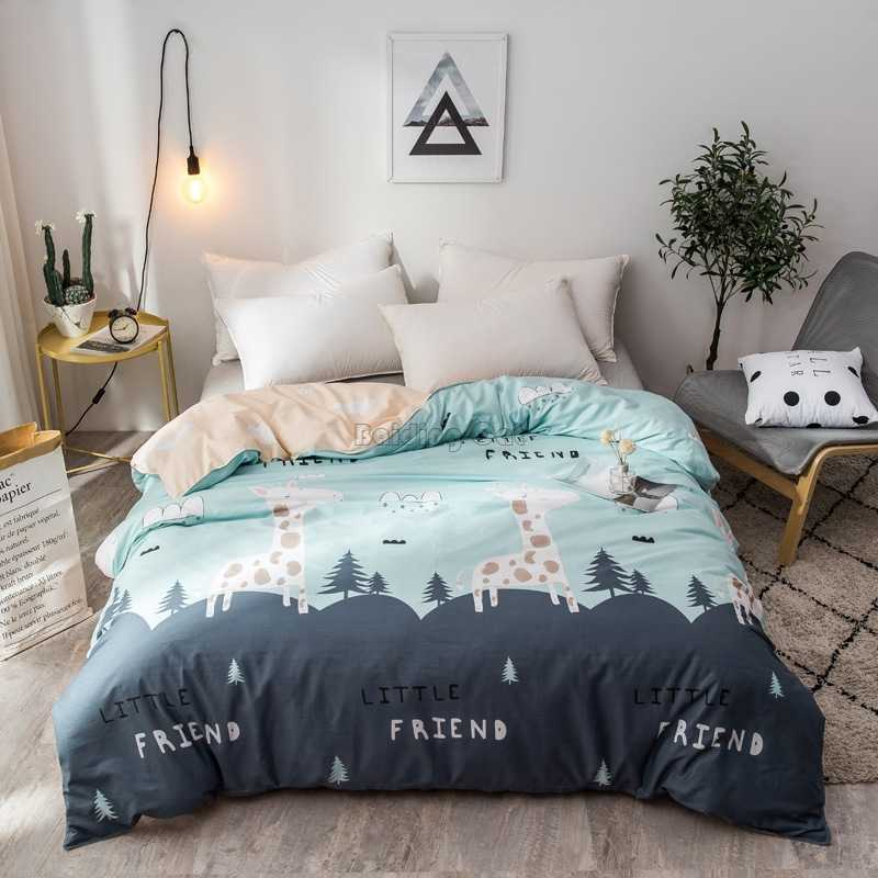 Green Forest Fawn Printed Duvet Cover