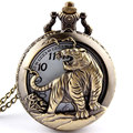 Hot Free shipping Bronze Tiger Hollow Quartz Pocket Watch Necklace Pendant  Chinese Zodiac 12 Carving Back Womens Men GIfts P251