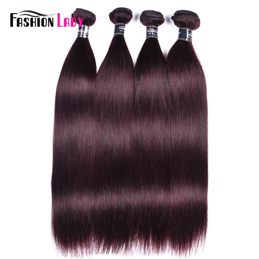 Fashion Lady Pre-Colored Brazilian Hair Weave Bundles Dark Purple Hair Bundles Human Hair Weaving 4Pcs Straight Bundles Non-Remy