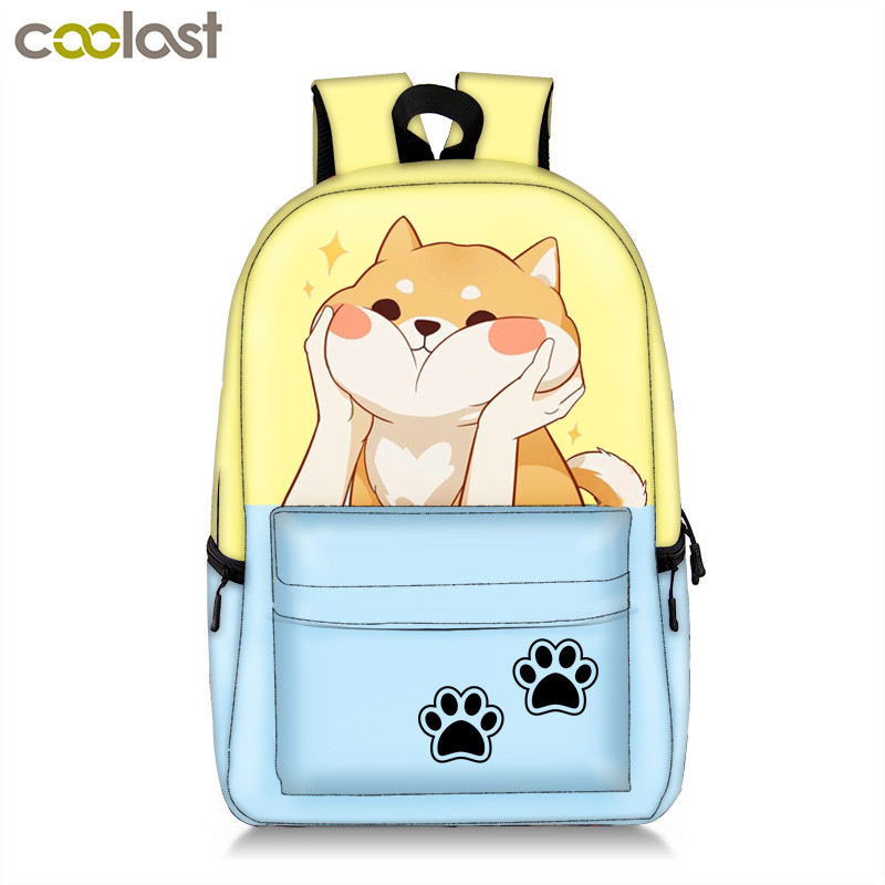 Book-Bag Cat-Backpack Akita Shiba Inu Funny Women Teenage Children Casual for Girl Boy