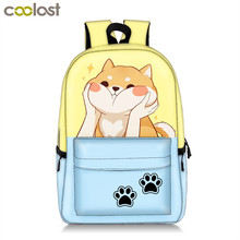 купить Cute Funny Akita Shiba Inu Dog / Kitten Cat Backpack For Teenage Girl Boy School Bag Women Men Casual Backpack Children Book Bag дешево