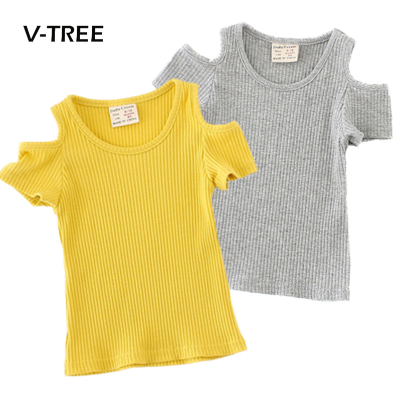 V-TREE New Baby Girls Clothing Summer T Shirts For Girls Bare Shoulders T Shirt Blouse Toddler Kids Tops Tees Girls Clothes 2-6Y yg71034045 winter baby blouse for girls blouse flower fleece worm full sleeve girls tops floral fashion girls clothes kids shirt