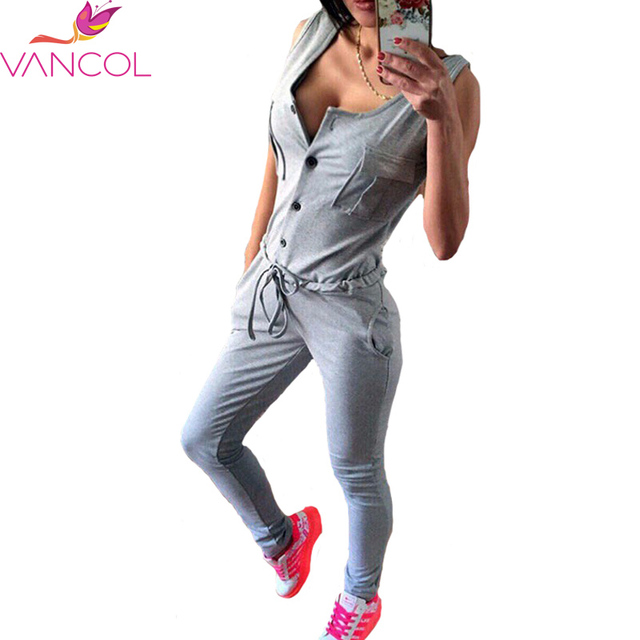 52c831b65e89 Vancol 2016 Summer Sexy Playsuits V-Neck Sleeveless Long Pants Black Grey  Soft Casual Plus Size Women Jumpers and Rompers