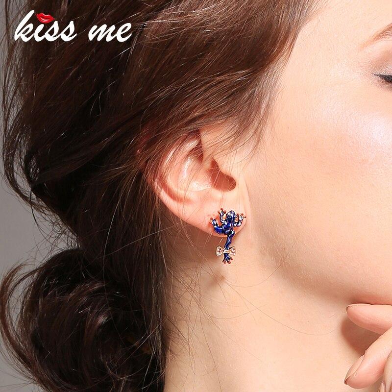 KISS ME Sweet /Cute Blue Green Enamel Crystal Frog Insect Stud Earrings Fashion Jewelry 2018 New Earrings for Girls