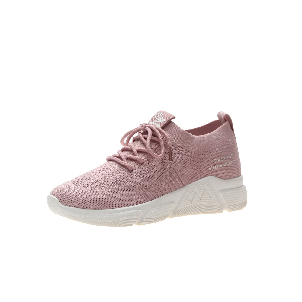 2019 spring solid color flying woven shoes women sports shoes women breathable mesh running shoes zapatos mujer women sneakers