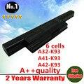 [ precio especial ] nueva batería del ordenador portátil para ASUS A93 A93S A93SM A93SV A95 A95V A95VM K93 K93S K93SM K95 A32-K93 A41-K93 envío gratis