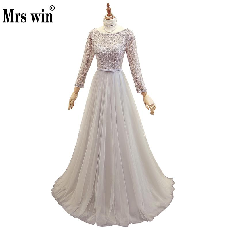 2018 New Real Photo Mrs Win Full Cap Sleeve Evening Dresses Classic Beading Party Prom Formal Robe De Soiree Can Custom Made