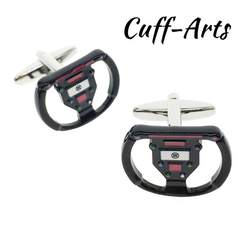 Cuffarts Gamepad Cufflinks Steering Wheel Shape Cuff Links Fashion 2018 Wheel Race Car Steering Wheel Cuff links C10012