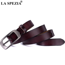 LA SPEZIA Women Vintage Belt Real Leather Coffee Waist Ladies Pin Buckle Genuine Cowhide Female For Trousers
