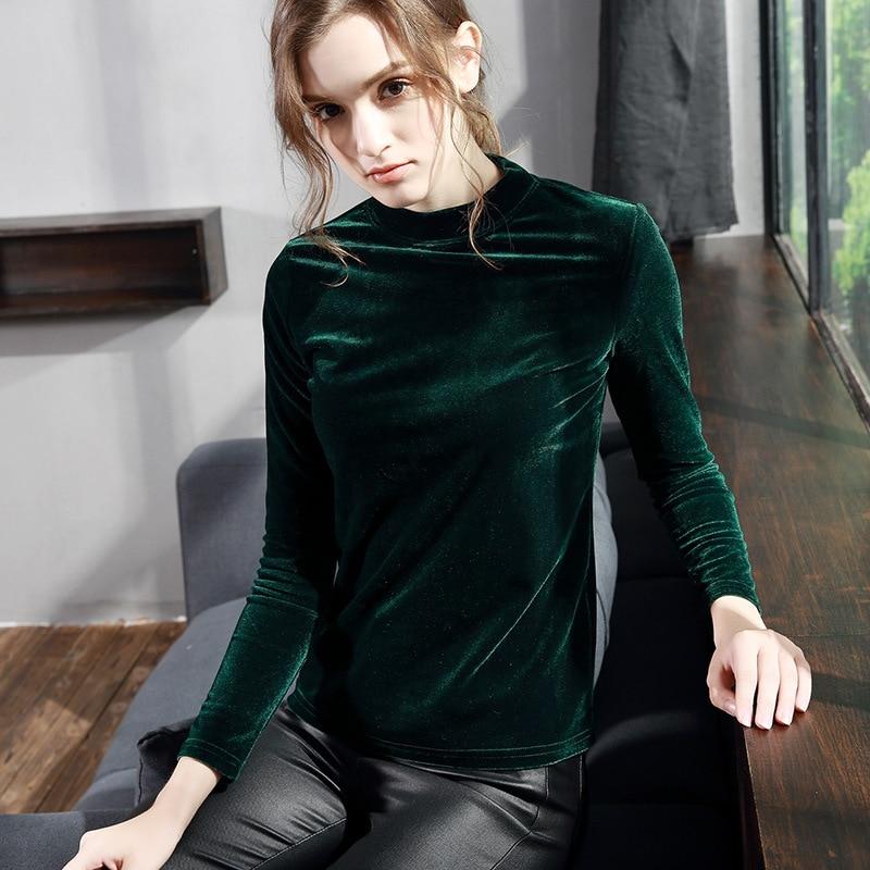 609c0d4551c Aliexpress.com   Buy Women Velour T Shirt 2018 Autumn Winter Hot Fashion  Plus Size Turtleneck Velvet Shirt Female Long Sleeve Slim Tops T shirts  from ...