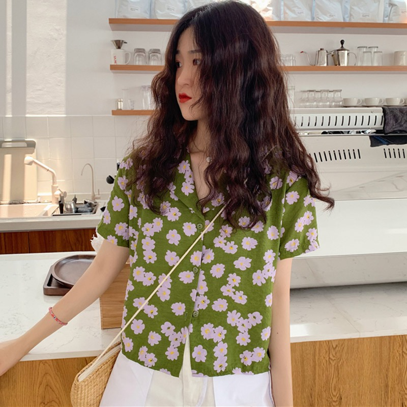 Harajuku Women Blouse and Tops Floral Printed Korean Short Sleeve blusas 2019 New Lady Casual Shirts Female Clothes