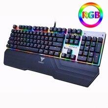 Mechanische gaming-tastatur Optische verbindung schalter RGB Hintergrundbeleuchtung-geisterbilder wasserdichte USB verdrahtete Pro gamer Russische aufkleber