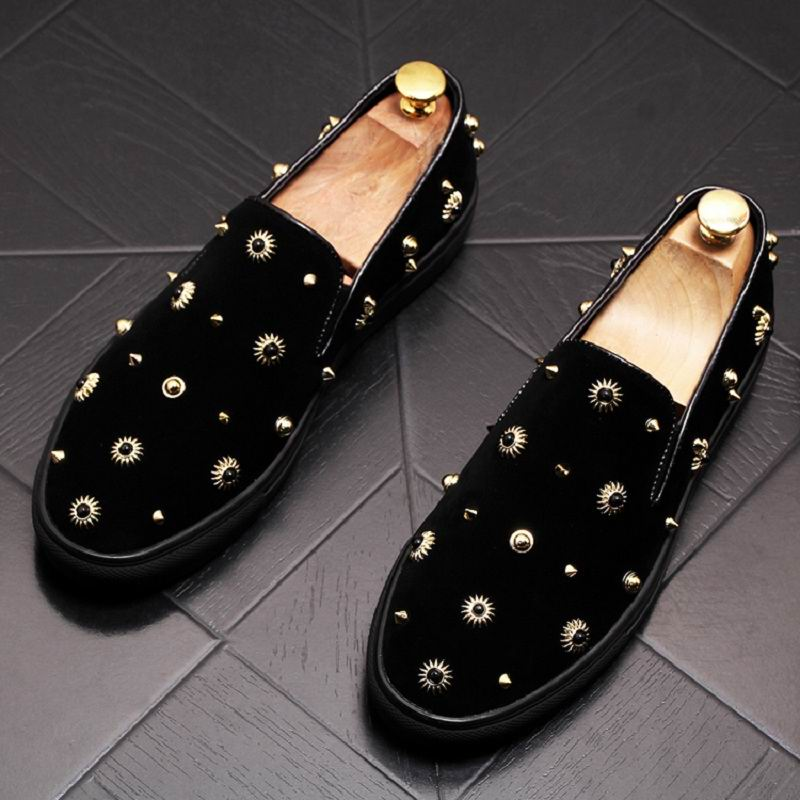 ERRFC Designer Luxury Mens Black Casual Shoes Fashion Rivet Flat Platform Loafer Shoes For Man Tide