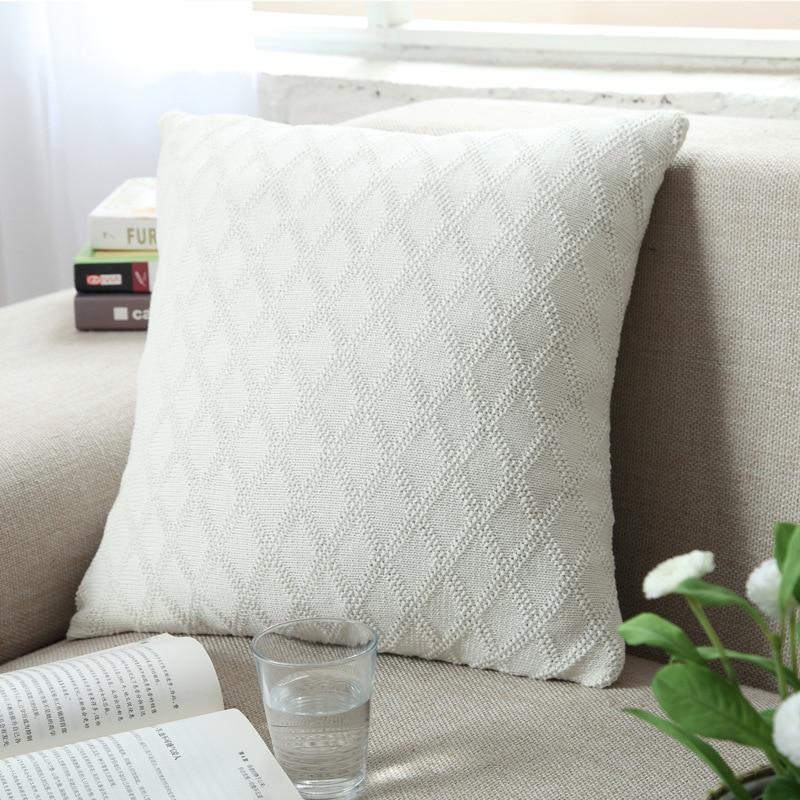 knitting diamond design cushion cover solid colors brown almofada ...