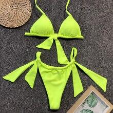 neon green bikinis 2019 mujer simple bandage bikini set triangle bra split swimsuit shirred bathing suit women leopard swimwear