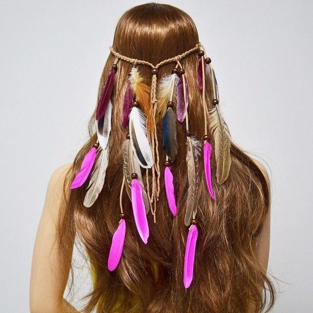 Dream Catcher Boho Hippie Sujo Ajustável Tranças Headband Acessórios Para o  Cabelo Cocar de Penas de ebc1cdcbe24