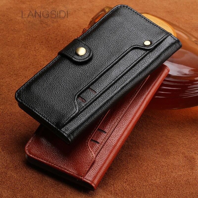 wangcangli Case ForMeizu Pro 7 Handmade Genuine Leather Wallet Flip Cover Card Slot Business Holster small