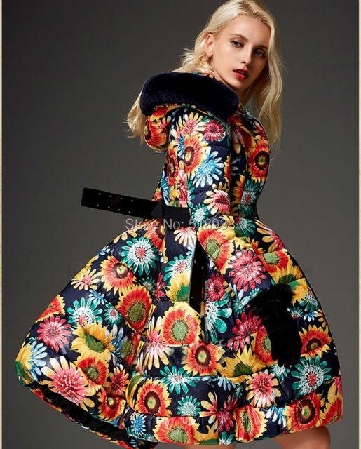 Inverno Novo 2014 moda feminina floral padrões de impressão para baixo casaco de médio-longo espessamento outerwear casacos de capuz de pele de marca de luxo