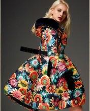 Зима Новый 2014 женщины моды цветочные узоры печати вниз пальто средней длины утолщение верхняя одежда класса люкс капот меховой марки пальто