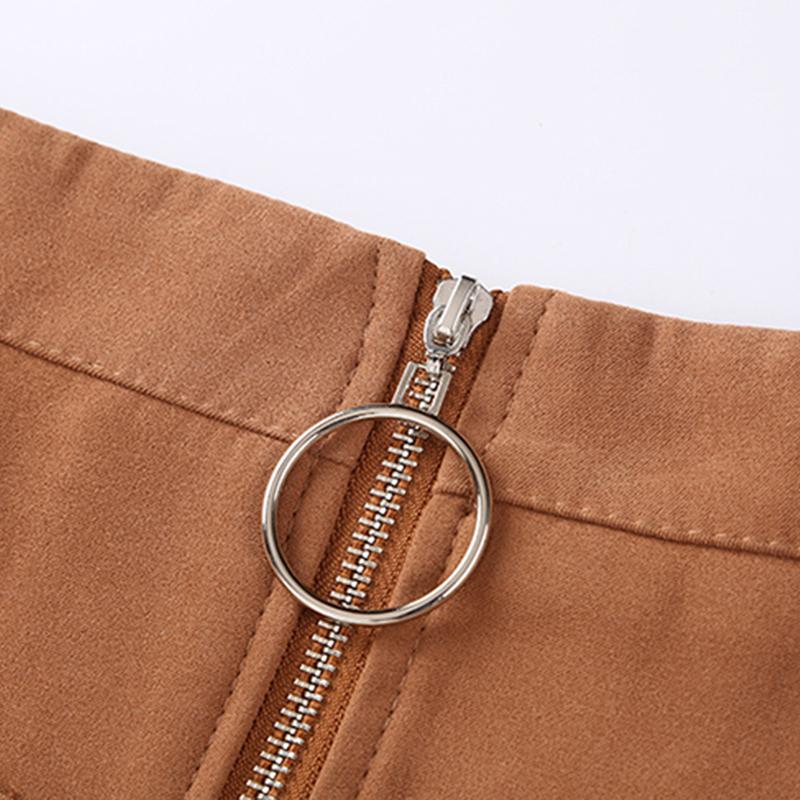 HTB1WU9XcqagSKJjy0Faq6z0dpXaW - Suede Skirt Fashion High Waist Zippers JKP343