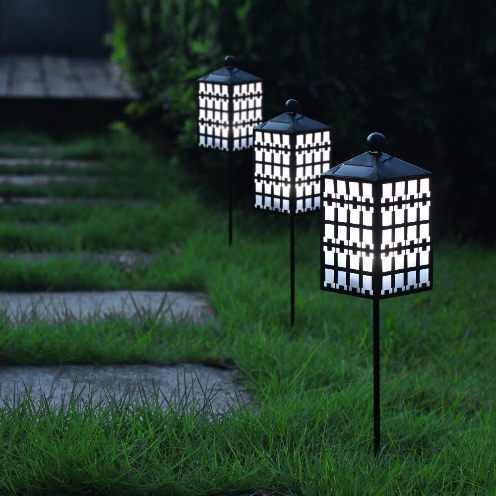 Solar powered LED Lantern Fence Lights for Outdoor Decor Garden Yard ...