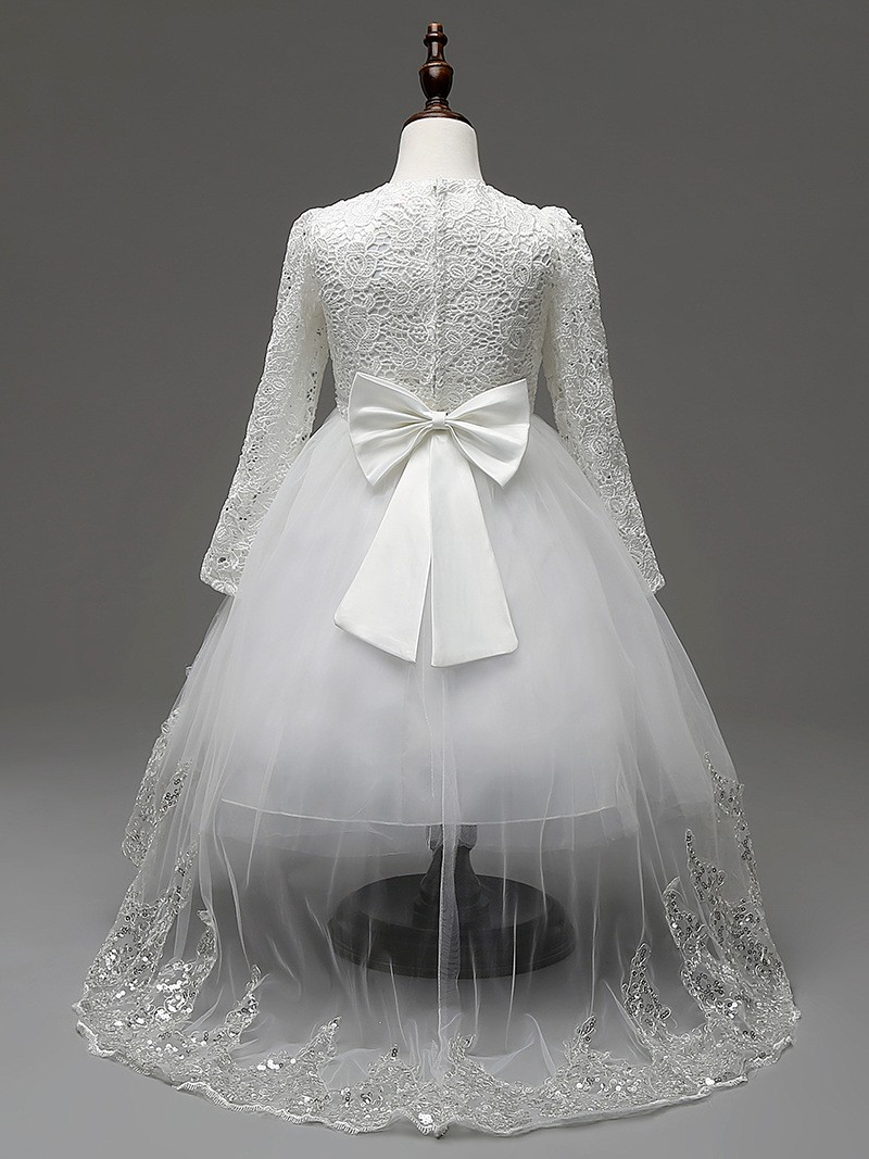 Flower Girl Lace Party Sequins Dress Wedding Bridesmaid Kids Princess Long Dress