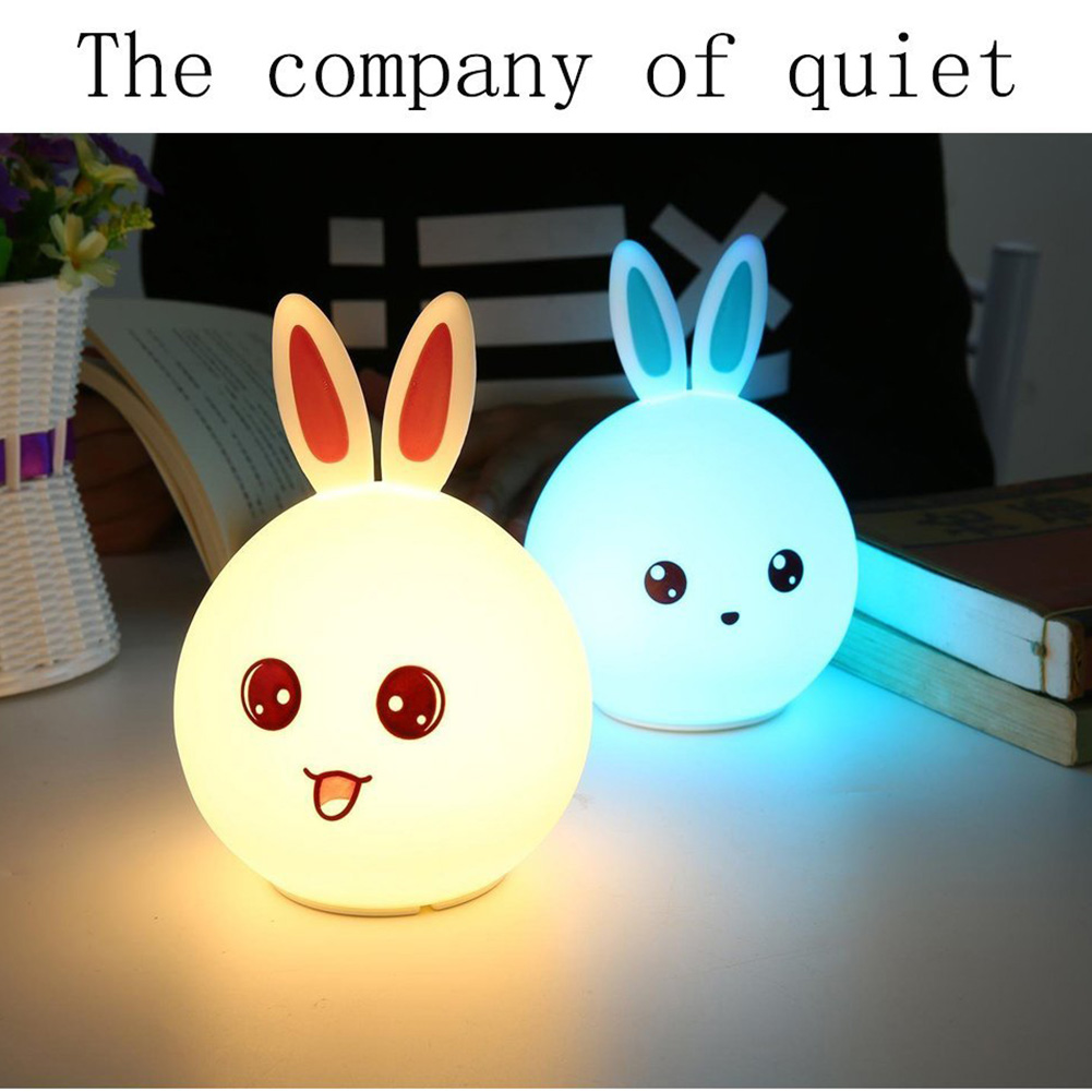 Lovely Rabbit LED Night Light Multicolor Silicone Touch Sensor For Children Baby Bedside Lamp Control Nightlight