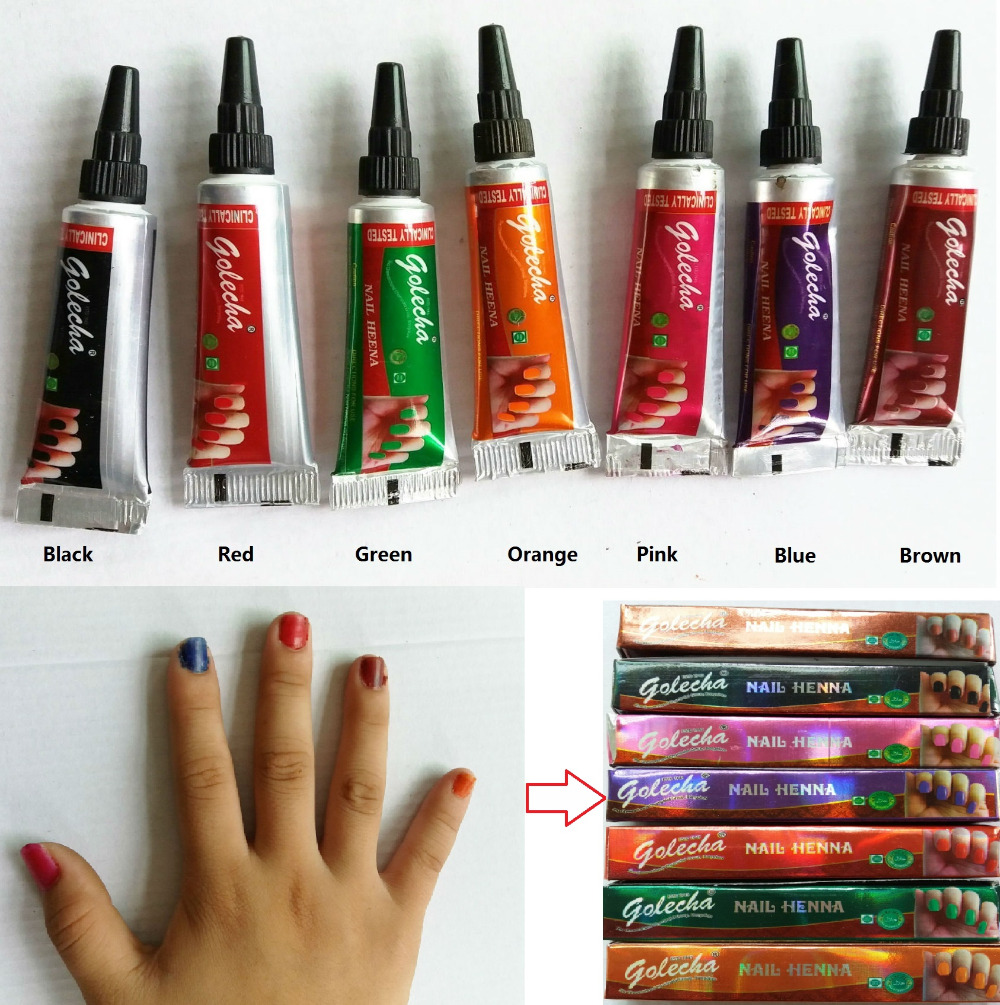 3X nail henna tube Multi Color Natural herbal Mehandi matte nail ...