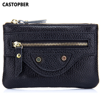 Motorcycle Bag Women's Leather Coin Purse Women Small Wallet Cowhide Genuine Leather High Quality Cute Bag Female Famous Brand