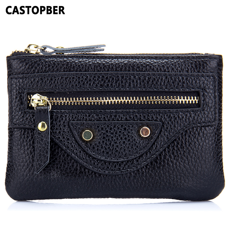 Motorcycle Bag Womens Leather Coin Purse Women Small Wallet Cowhide Genuine Leather High Quality Cute Bag Female Famous Brand