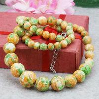 Hot Sale Tower Necklace Chain Semi Precious Stones Jasper Riverstones Rain Flower Rainbow Jewelry For Women