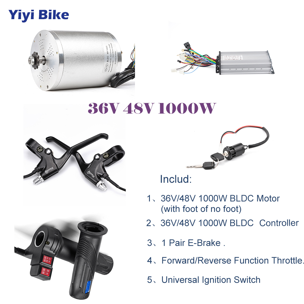 48V 36V 1000W Electric Bike DC Motor Brushless Motor Controller Conversion kiti Electric Vehicle Reverse Throttle