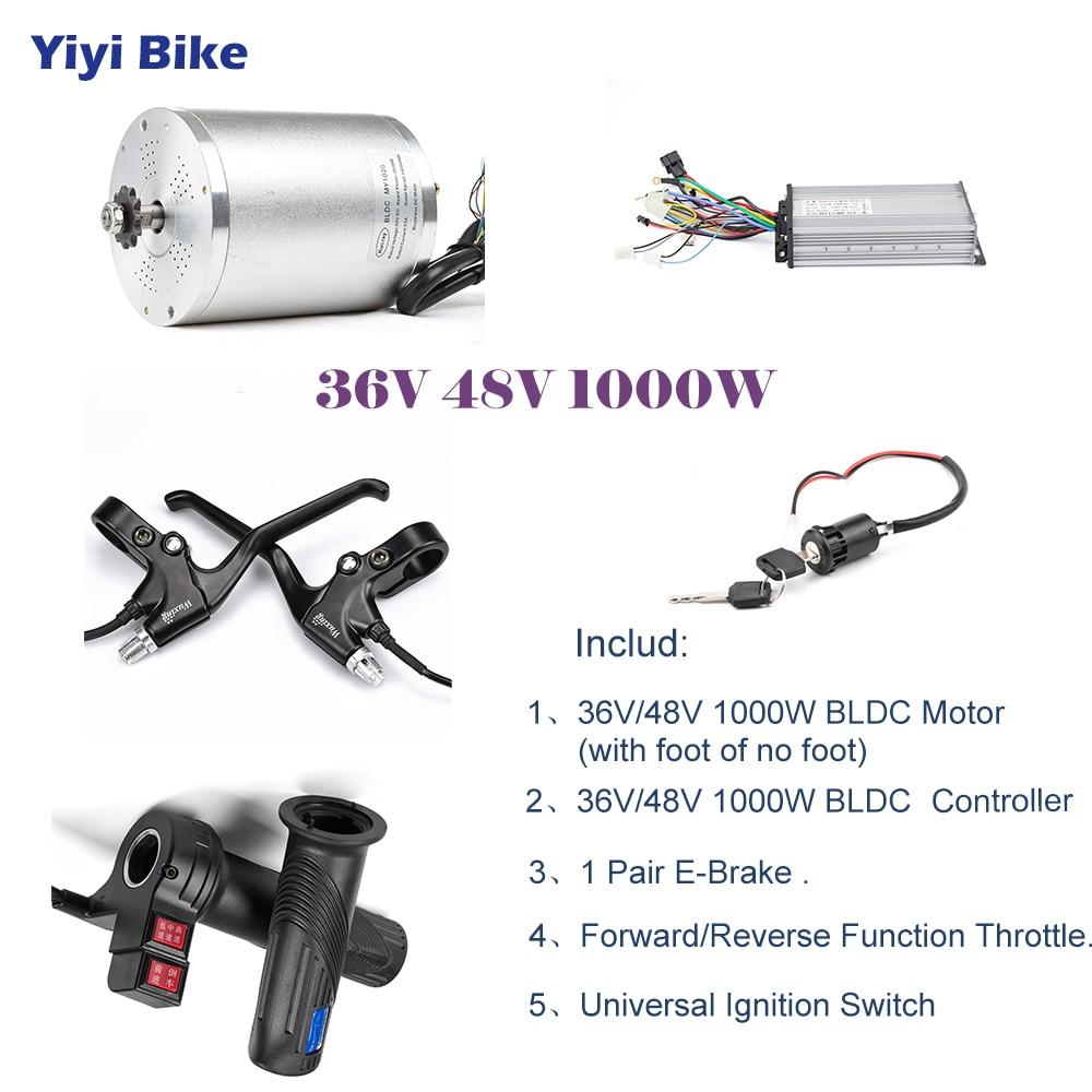 48V 36V 1000W Electric Bike DC Motor Brushless Motor Controller Conversion  kiti Electric Vehicle Reverse Throttle Disc V Brake