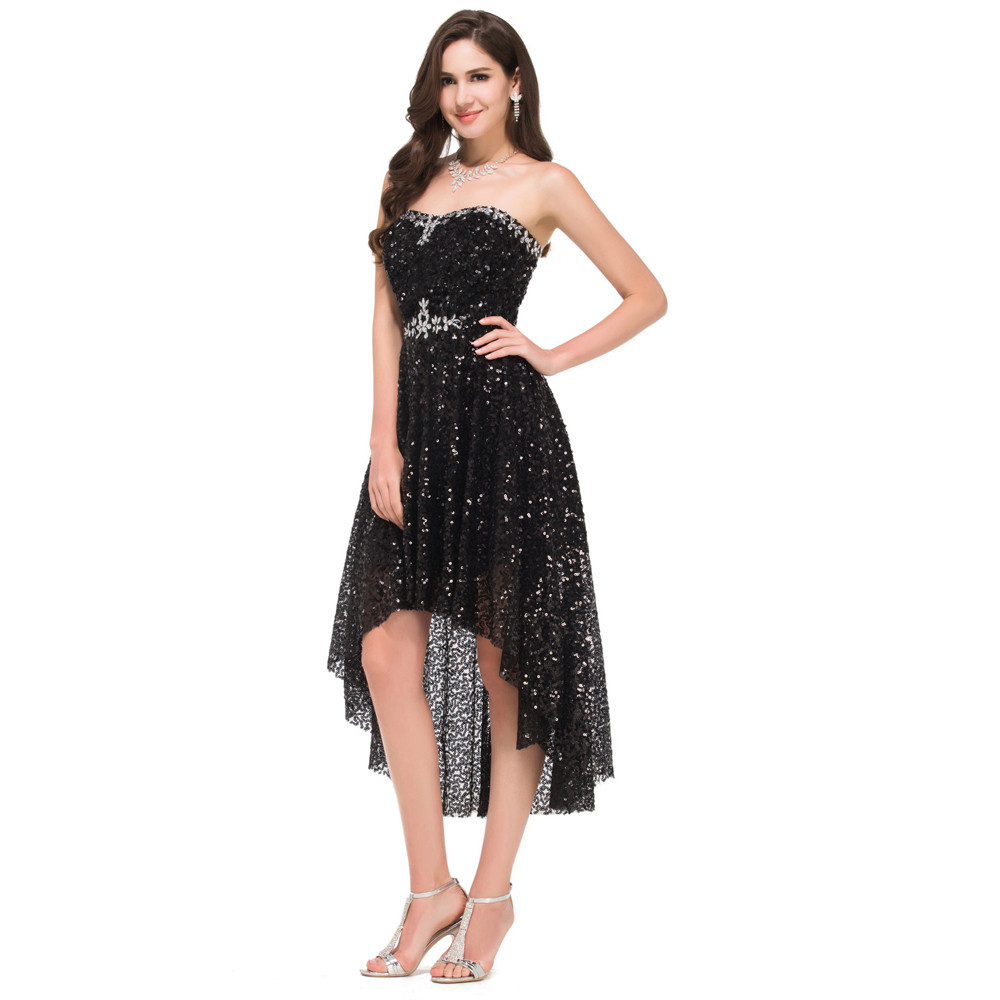 Grace Karin High Low Black Prom Dresses 2017 Short Front Long Back Evening Dress Vestidos de Festa Sequins Prom Dresses 8915 10