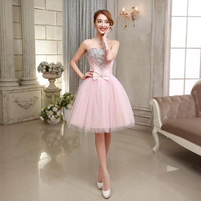 Personalizada corto cristal de color rosa vestido de boda 2016 ...