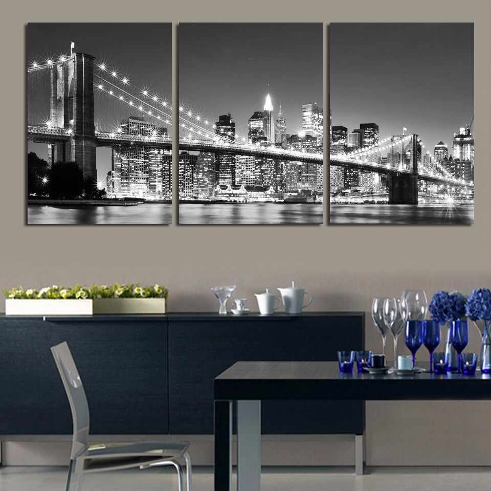 3 Pieces Night Of New York City On The Brooklyn Bridge Modern Home Wall Decor Canvas Picture Art HD Print Painting On Canvas Art