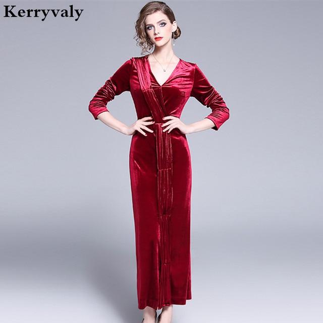 3e286d9a60 US $26.86 18% OFF|Vestido Sexy Bodycon Long Sleeve Maxi Red Christmas Dress  Vetement Femme 2019 Long Party Velvet Winter Dress Robe Pull K3522-in ...
