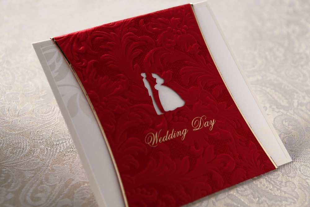 Red Color Bride Groom Design Wedding Invitation Cards With