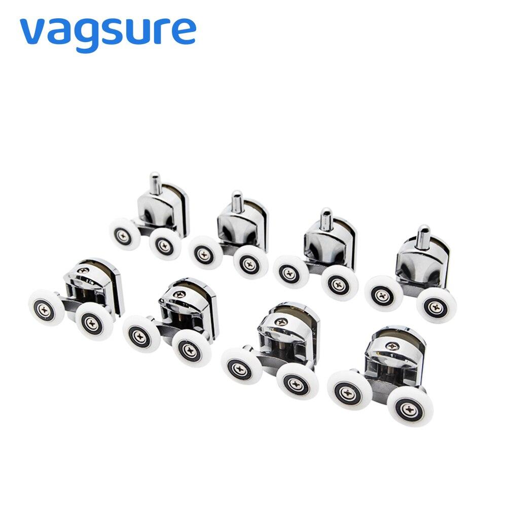 4pcs-8pcs/set 23mm/25mm Shower Door Rollers Zinc Alloy Double-Wheel Sliding Shower Door Roller Bearing Wheel Runners Replacement