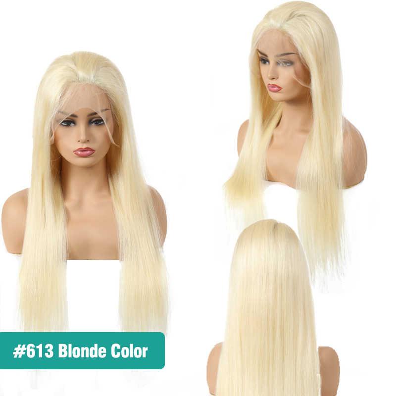 Предварительно вырезанные 13x6 Синтетические волосы на кружеве парики из натуральных волос прямые волосы Реми Натуральный Цвет/613 блондинка Синтетические волосы на кружеве парики Али Фуми queen Hair