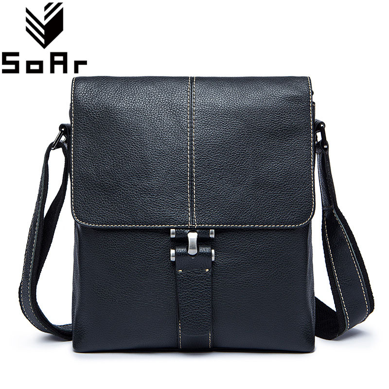SoAr Genuine Leather Men Messenger Bags Casual Men'S Leather Bag Shoulder Crossbody Bags Flap Male Famous Brands Hot Sale New mva genuine leather men s messenger bag men bag leather male flap small zipper casual shoulder crossbody bags for men bolsas