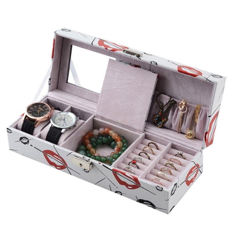 2017 15 Grid Jewelry Box Ring Watch Storage Box MDF PU Leather Box Storage  Fashion