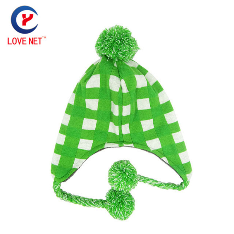 2017 new arrival green knitted hats with ball of fur plaid pattern women hats x17 4pcs new for ball uff bes m18mg noc80b s04g